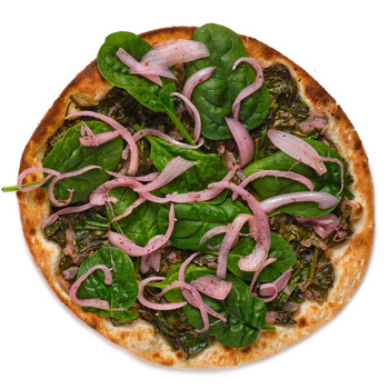 a photo of spinach flatbread